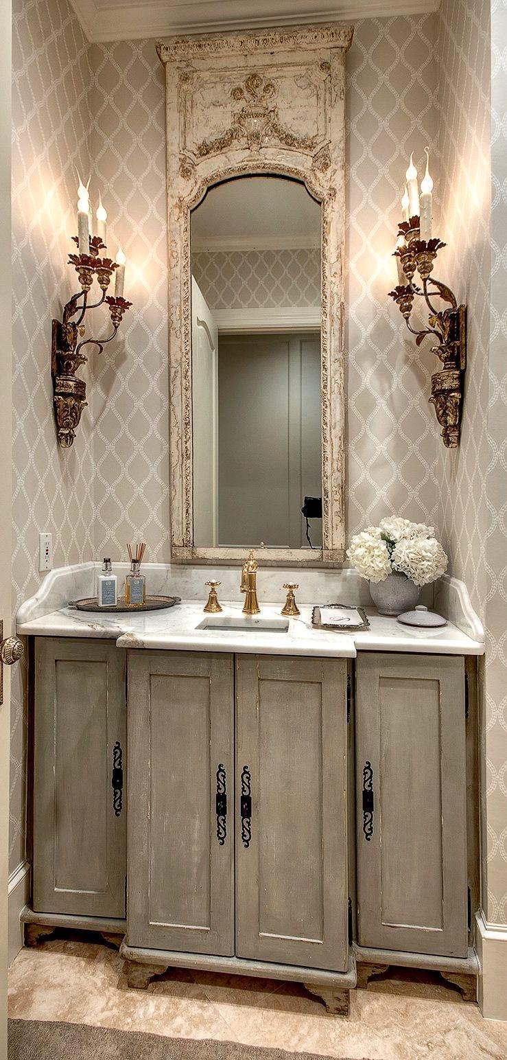 Зеркало в ванную комнату в состаренной раме