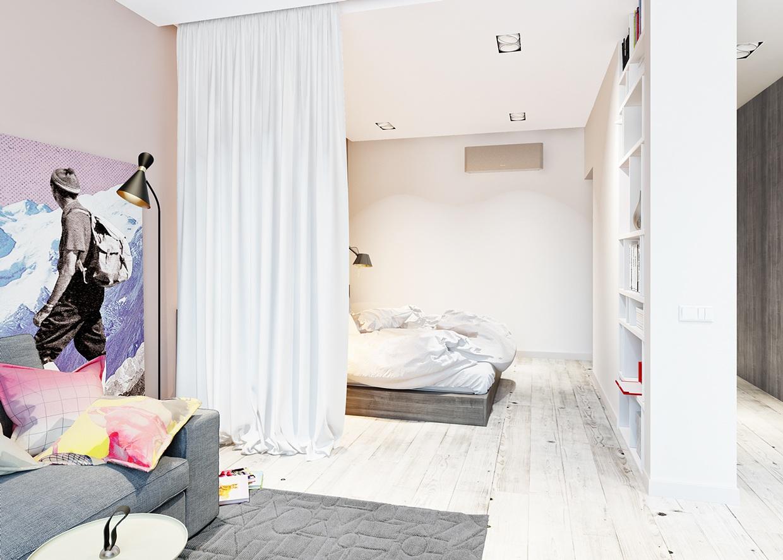 Детская в однокомнатной квартире с текстилем