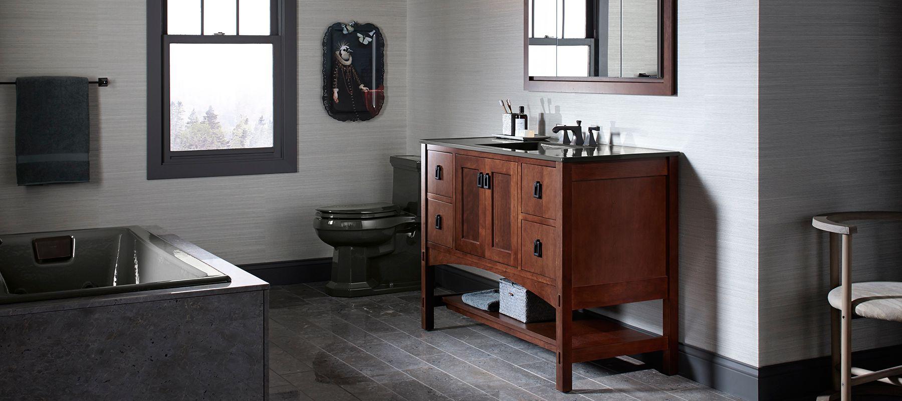 Мебель для ванной темная