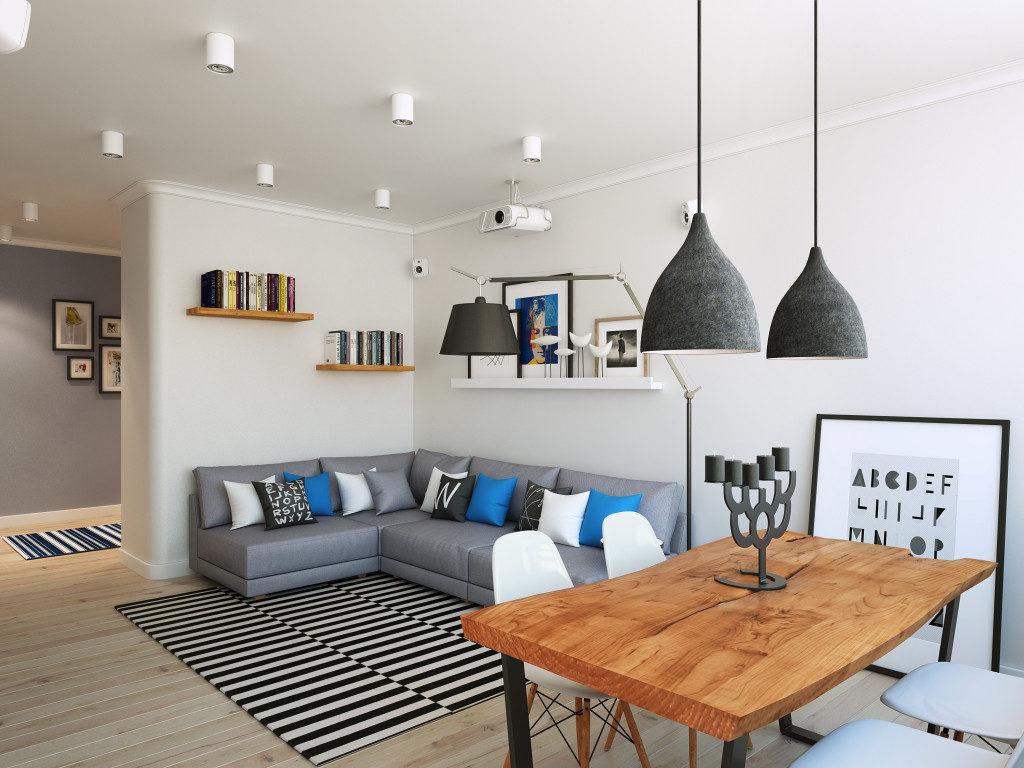 Спальня в однокомнатной квартире с угловым диваном