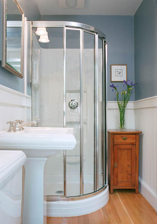 Идеи дизайна маленькой ванной с угловым душем