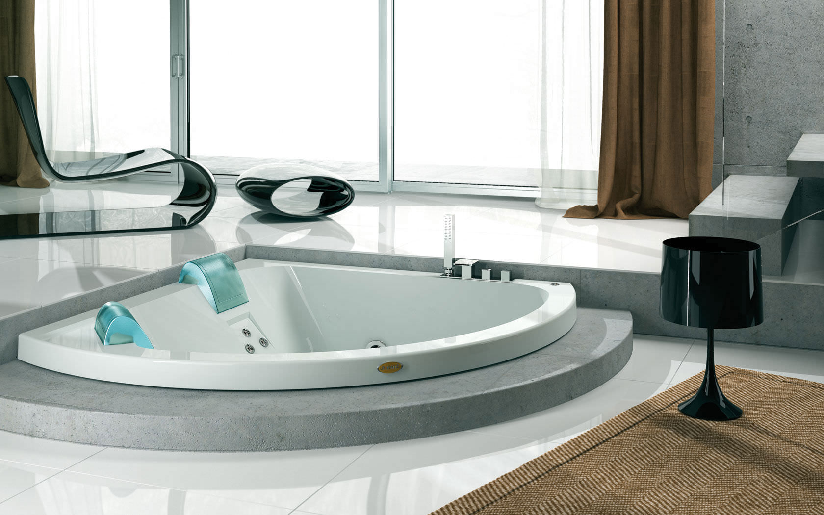 Угловая ванна встроенная
