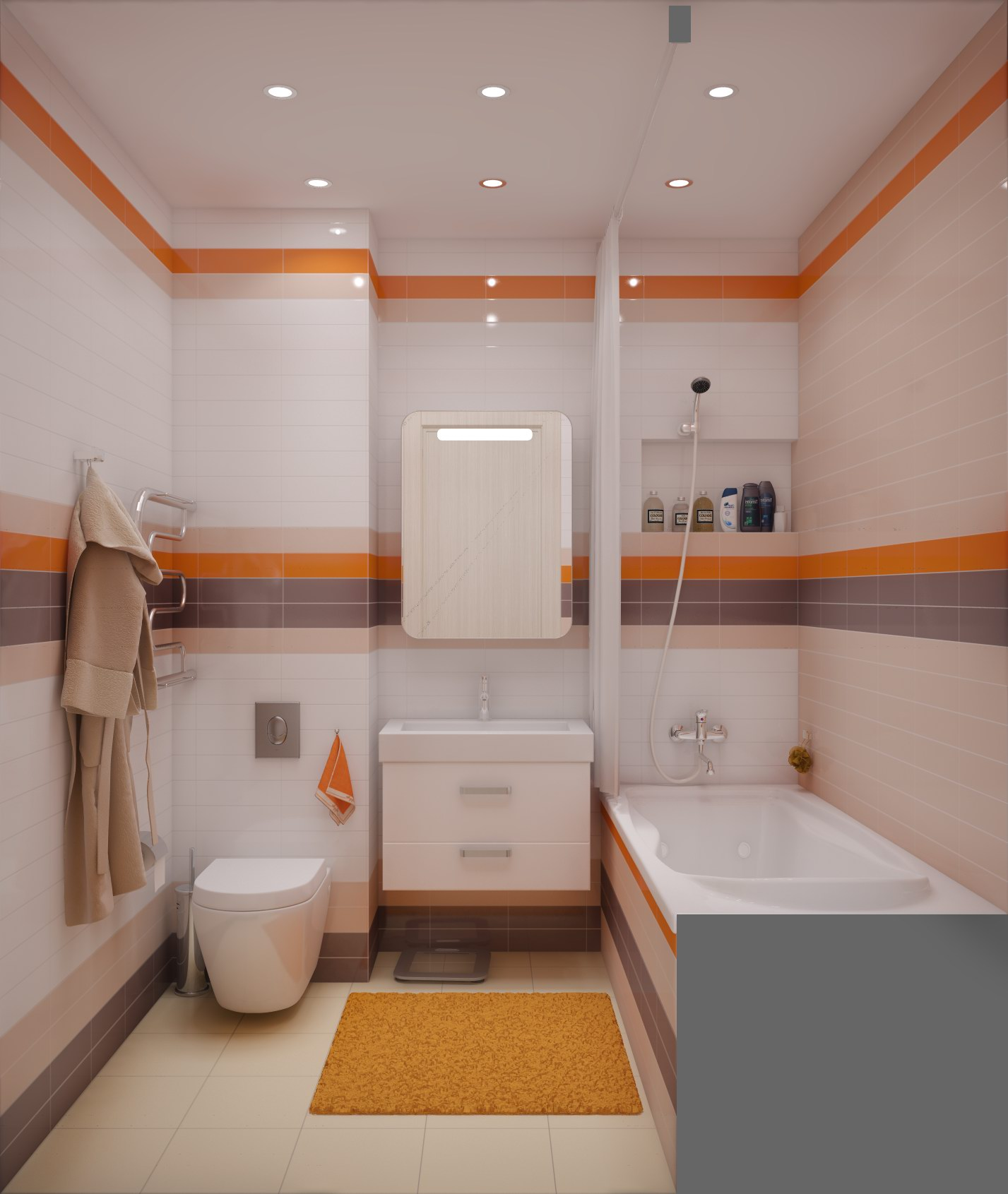 Совмещенная ванная комната яркая