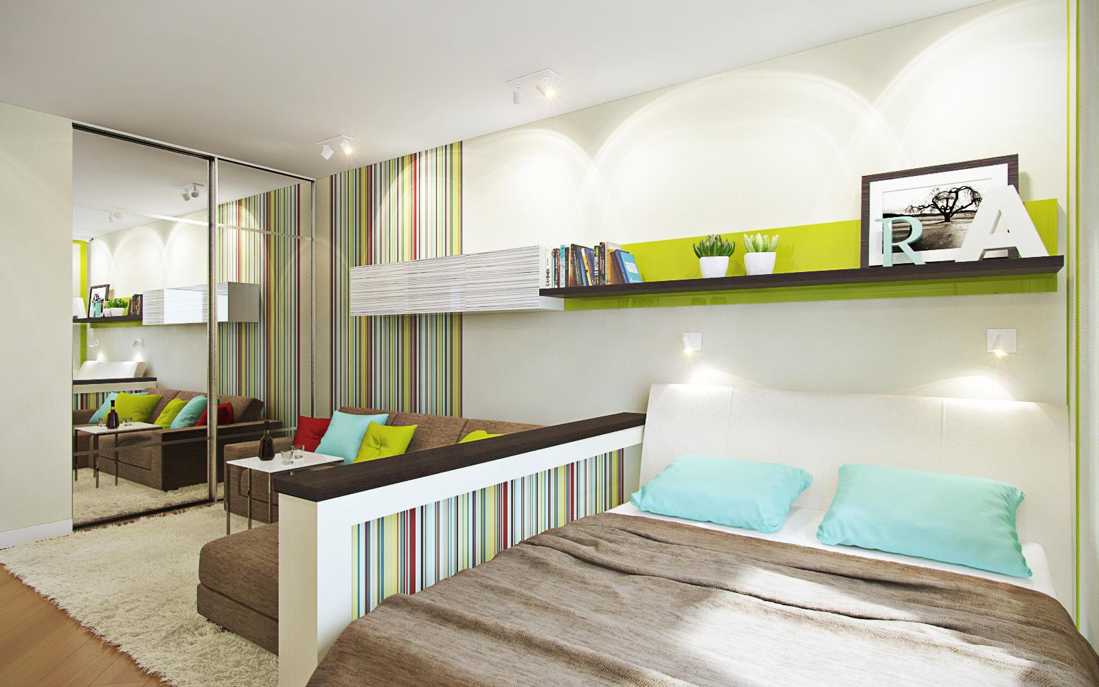 Спальня в однокомнатной квартире в ярком дизайне
