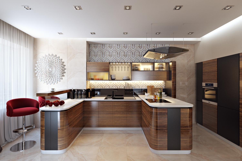 Кухня 9 кв м зебрано
