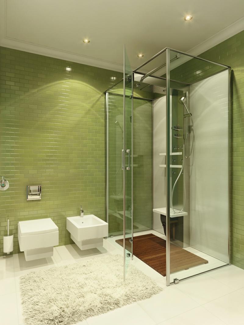 Ванная комната с душевой кабиной зеленая