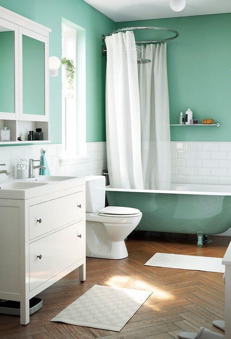 Интерьер ванной зеленый