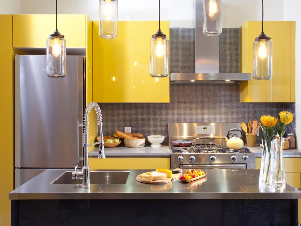 Кухня 9 кв м желтая