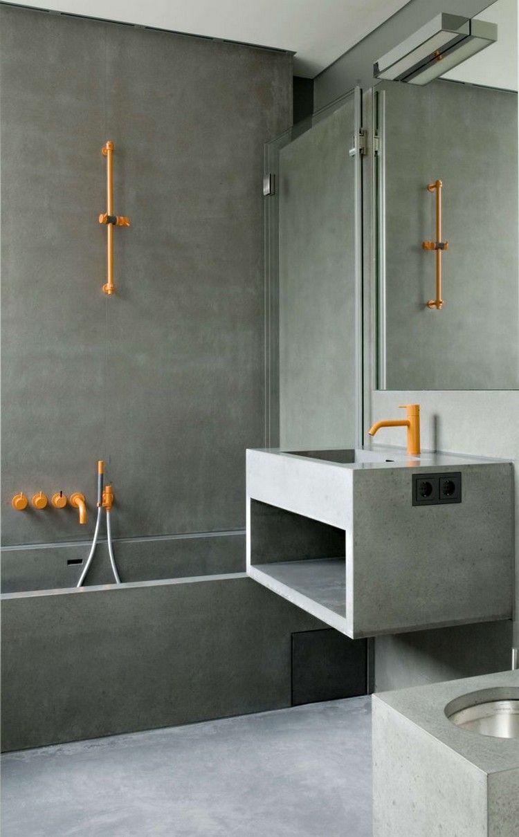 Ванная комната в современном стиле с бетоном