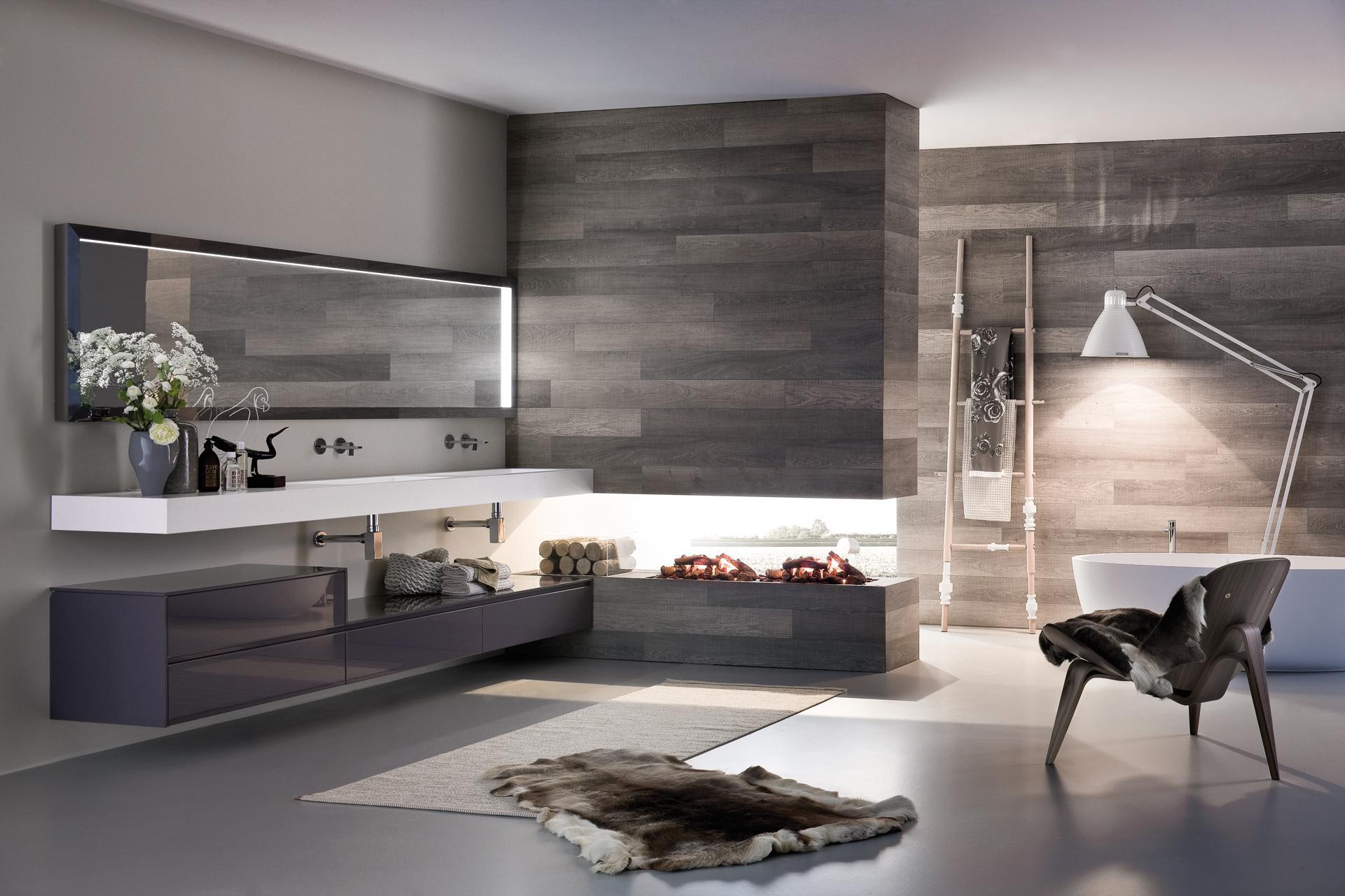Ванная комната в современном стиле деревянная