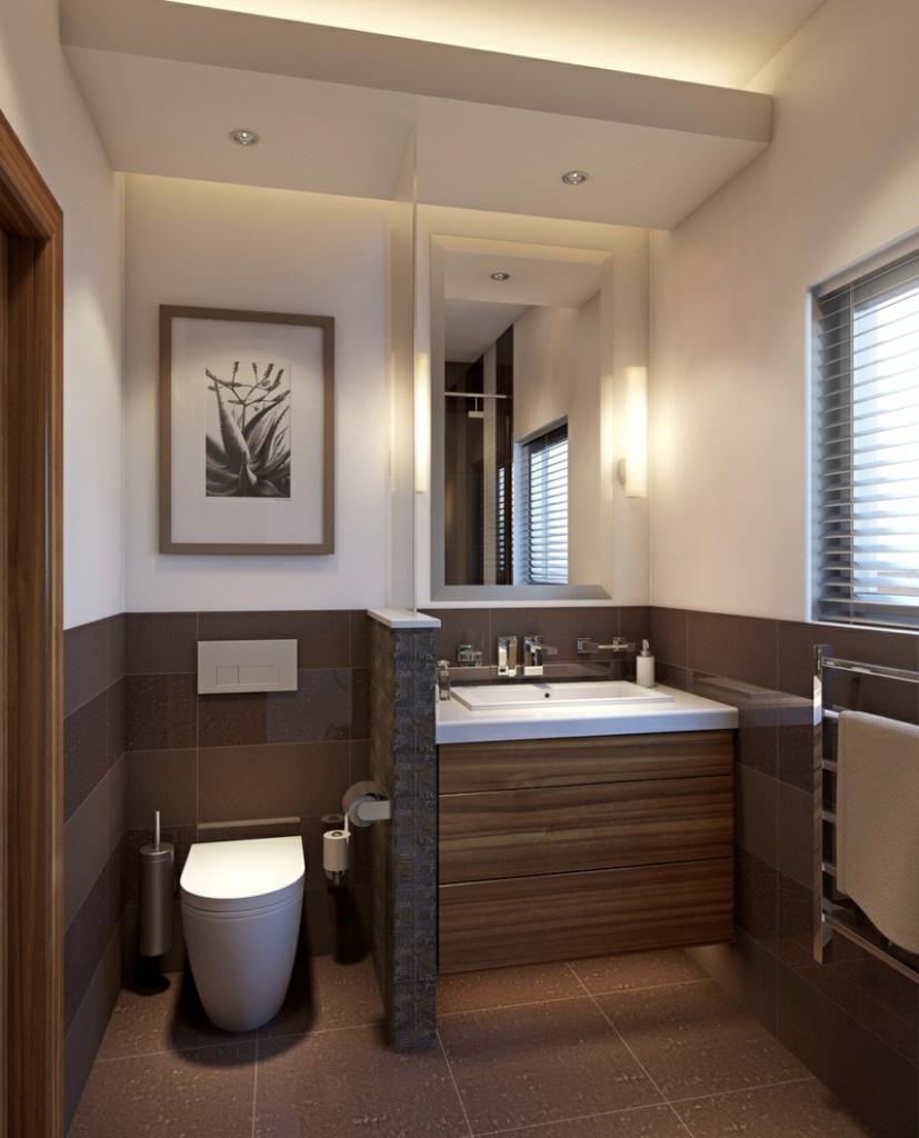 Ванная комната в современном стиле коричневая