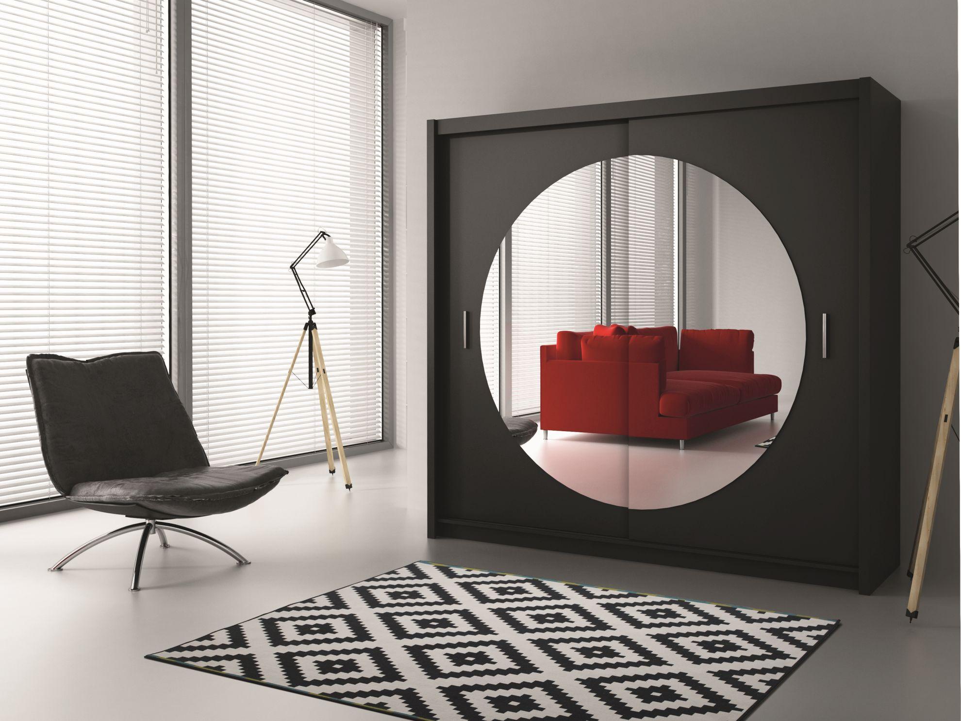 Шкаф в прихожую с круглым зеркалом