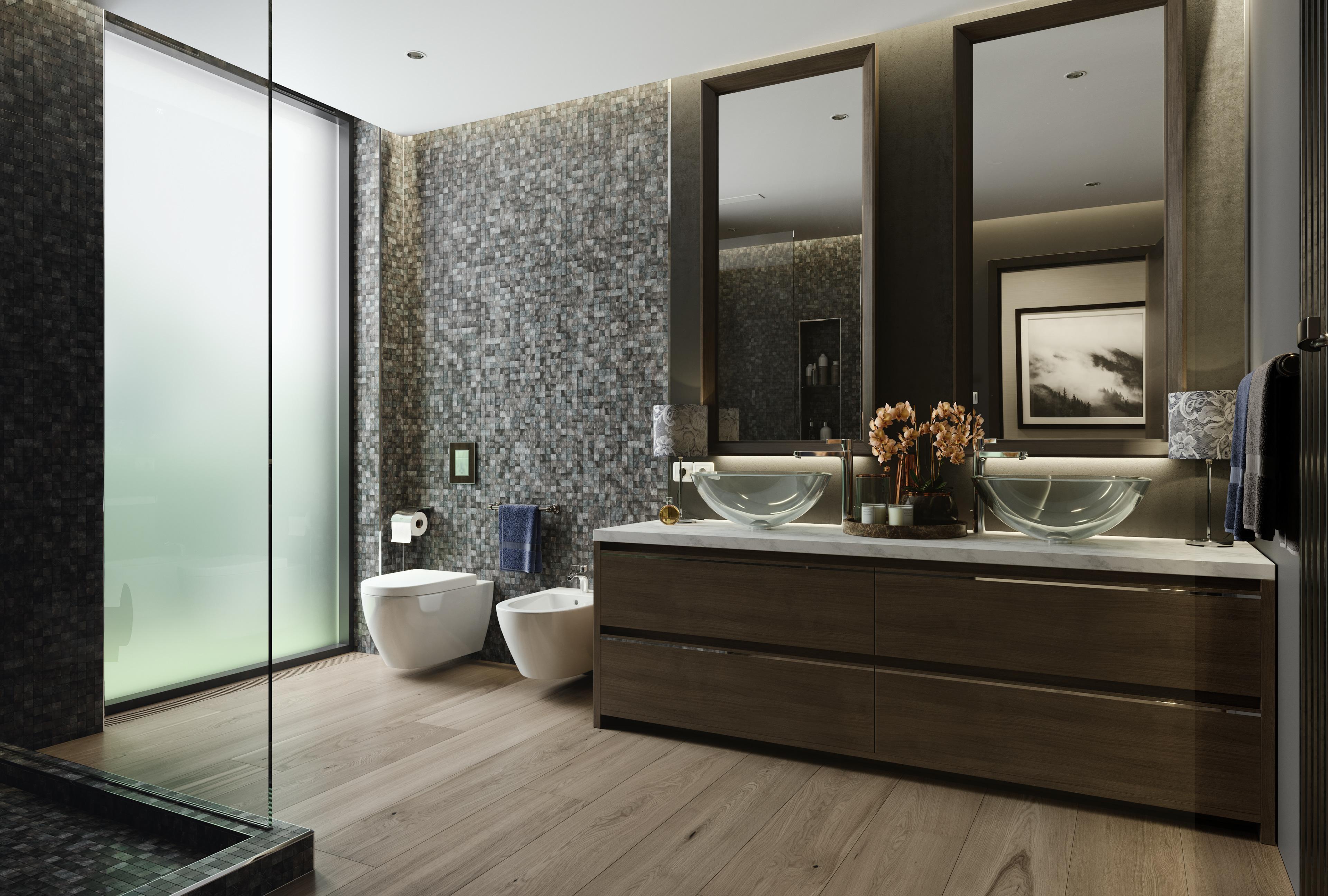 Ванная комната в современном стиле с орехом