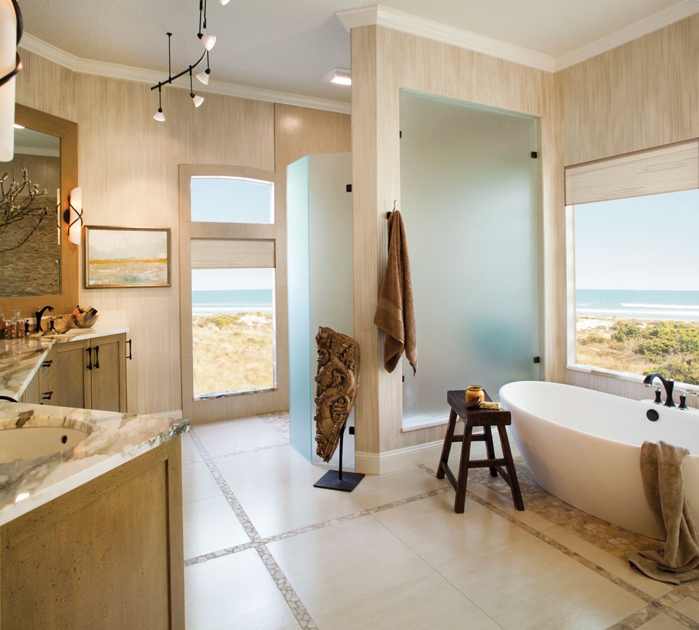 Ванная комната в современном стиле песочного оттенка