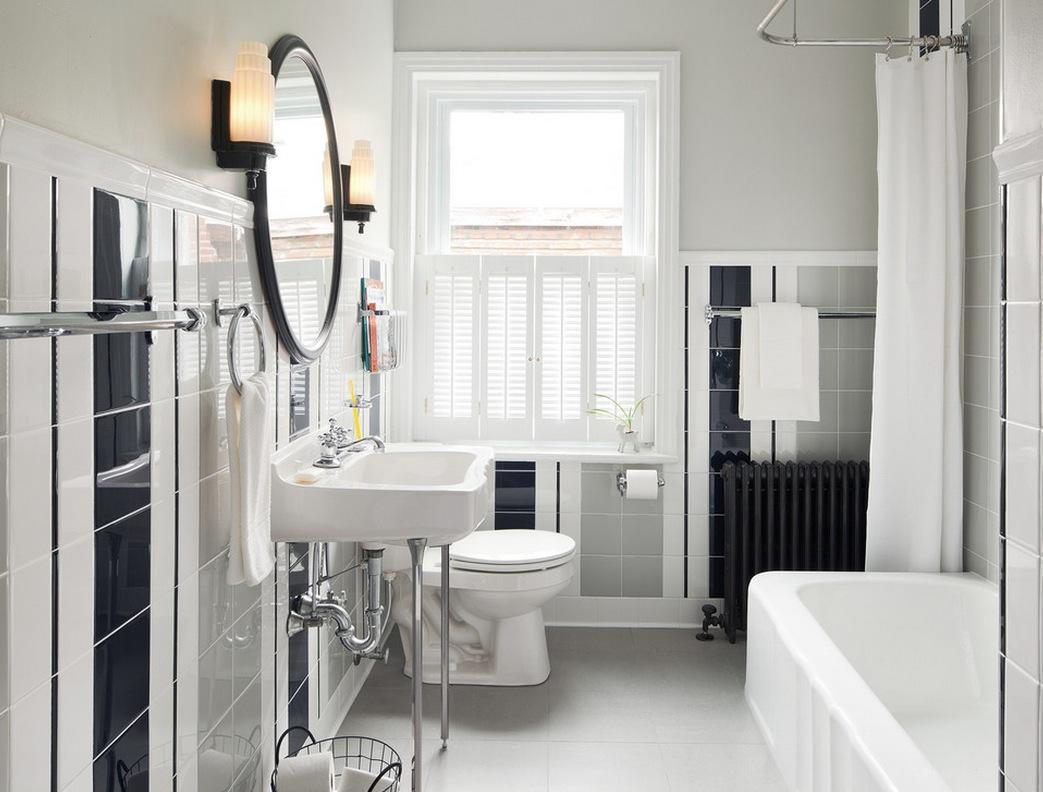 Ванная комната в современном стиле с полосками из плитки