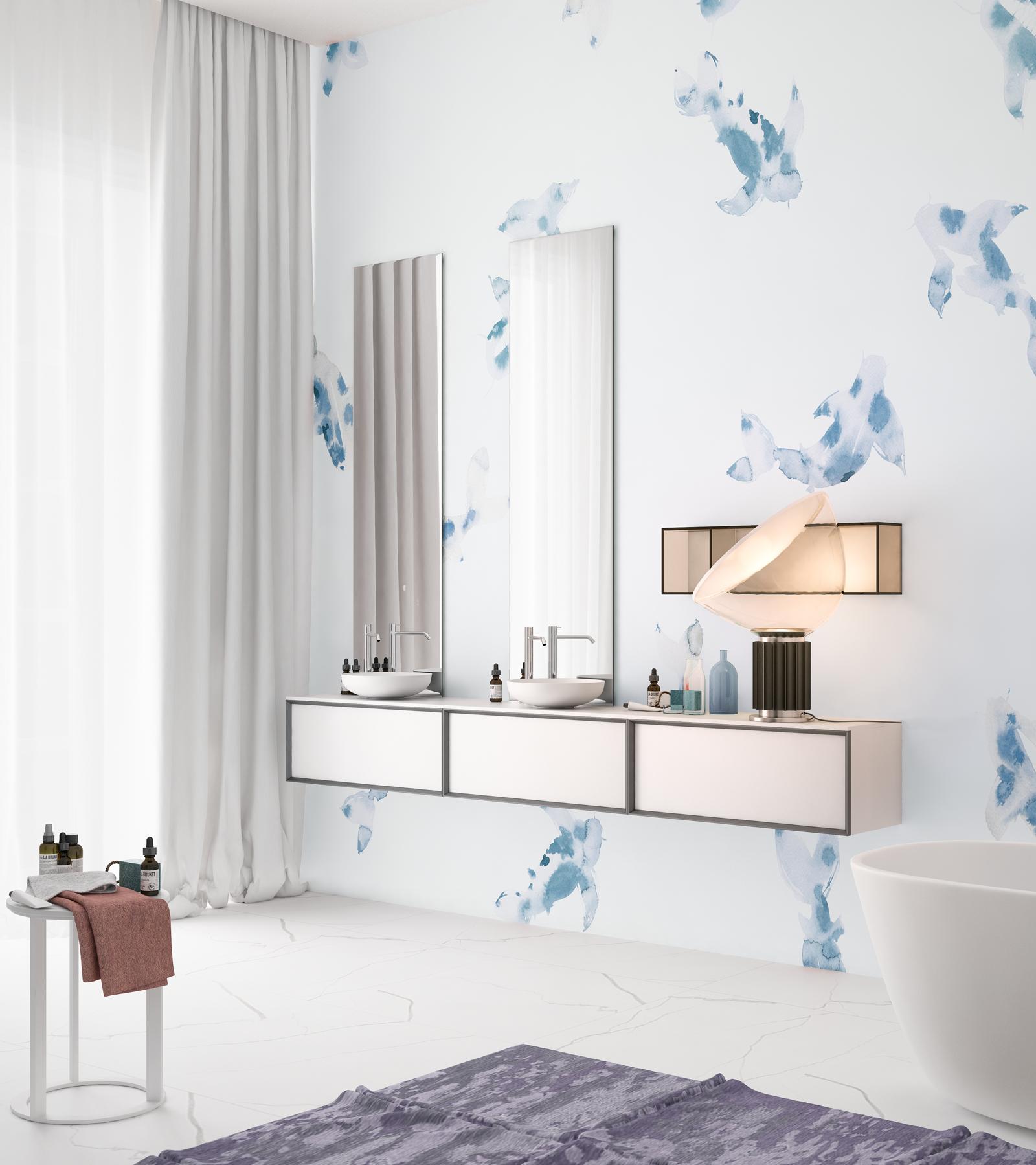 Ванная комната в современном стиле с принтом на стене
