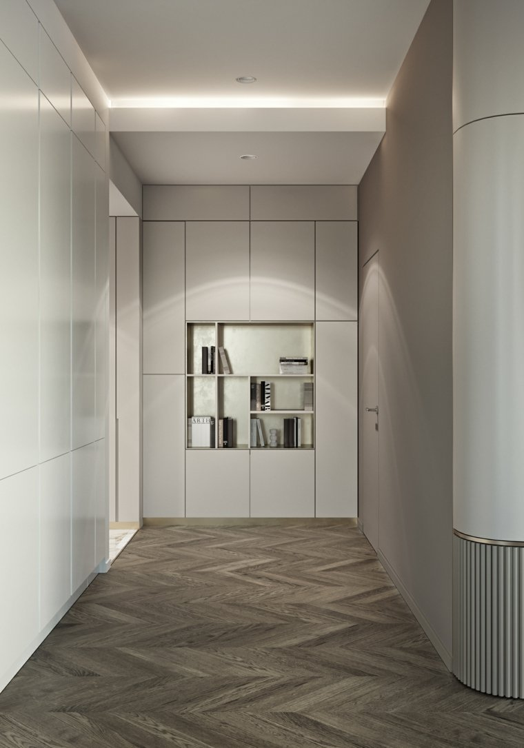 Шкаф в прихожую встроенный серый