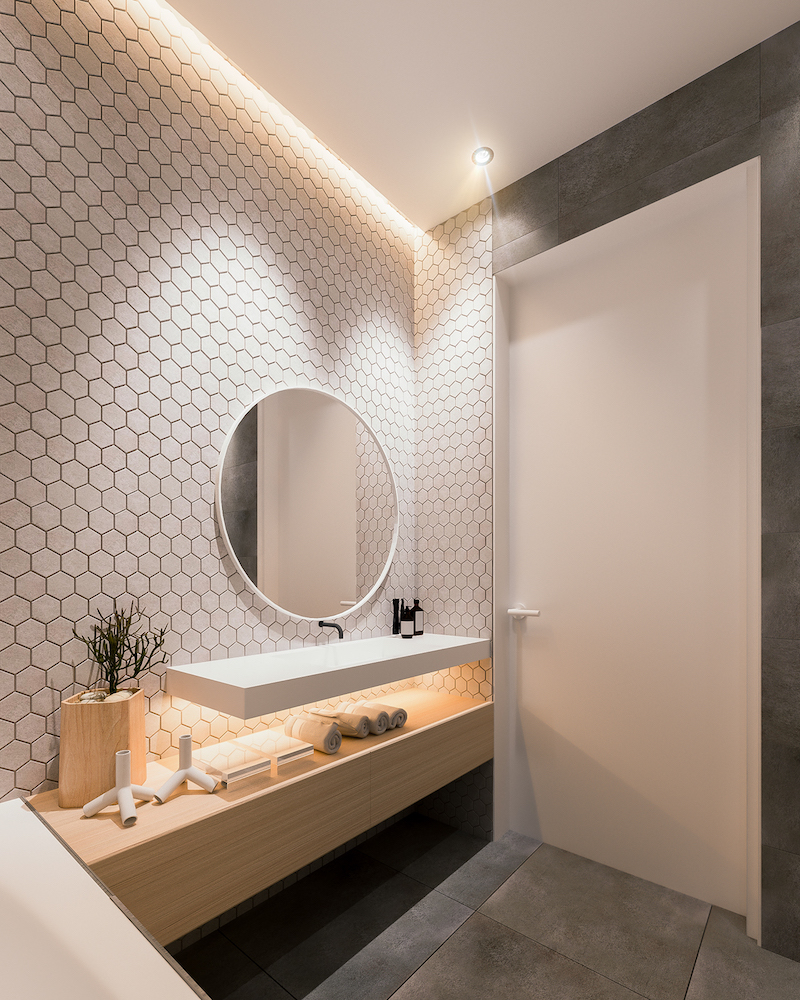 Ванная комната в современном стиле с шестиугольной плиткой