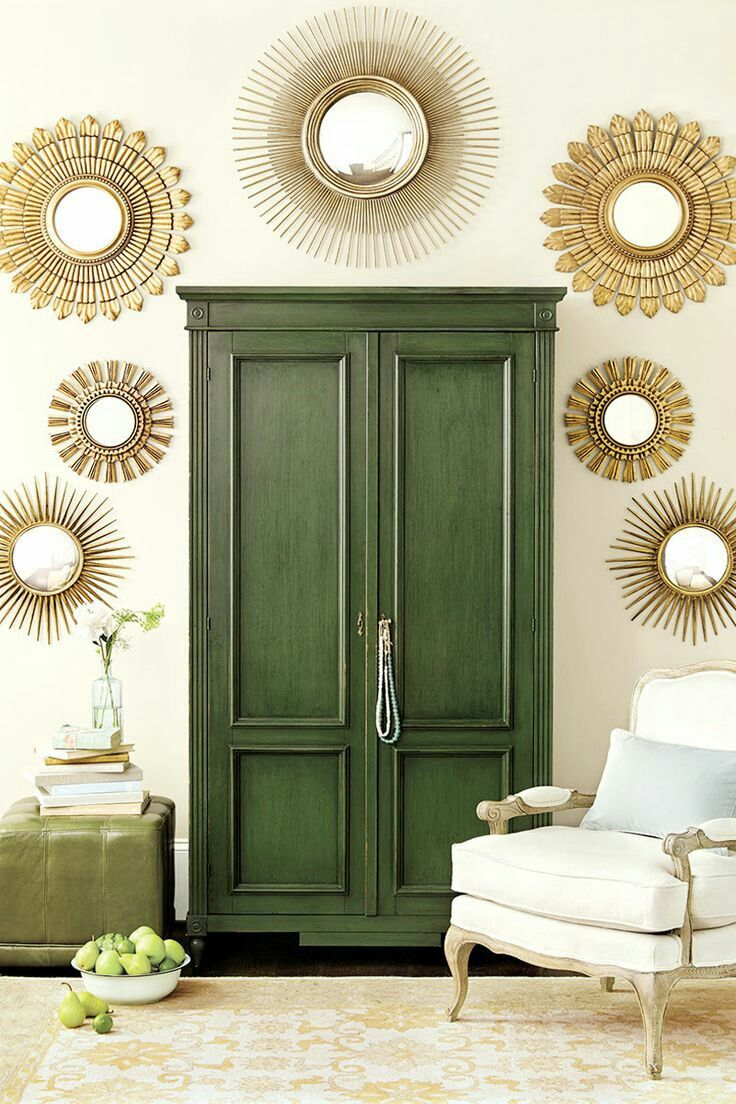 Шкаф в прихожую зеленый в стиле прованс