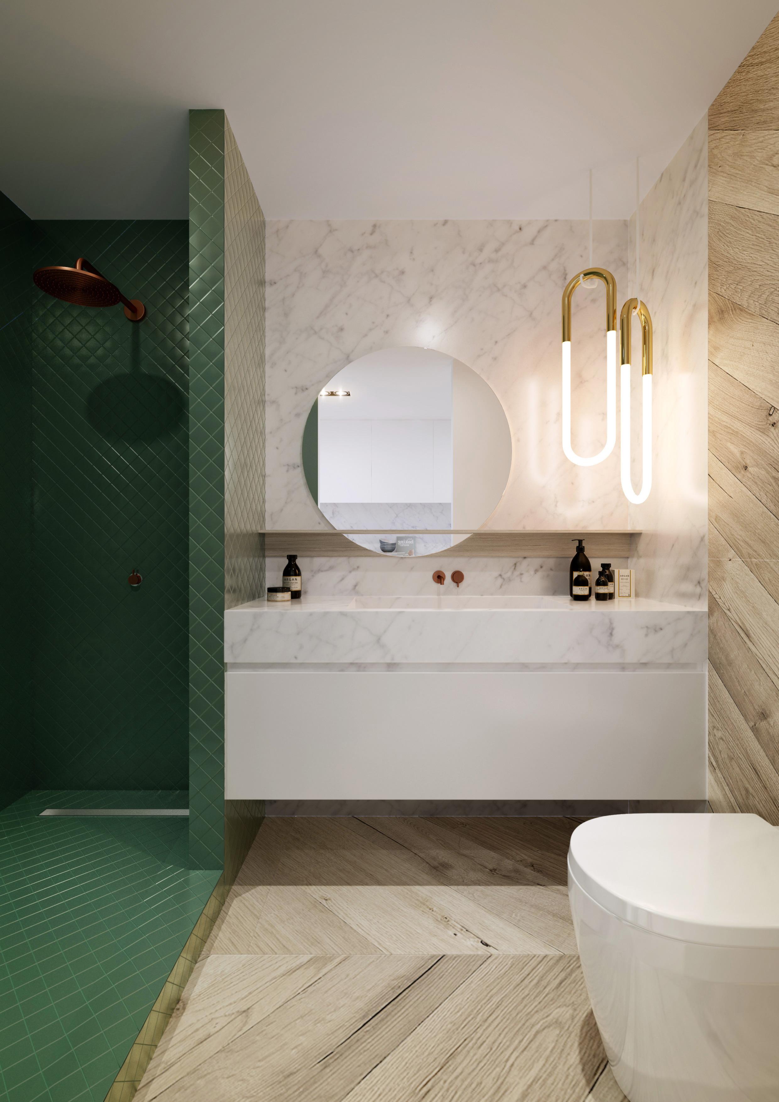 Ванная комната в современном стиле с зеленой плиткой