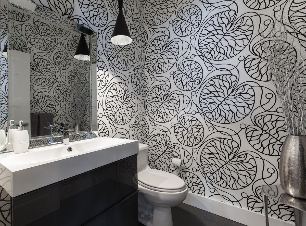 Обои в туалете абстрактные