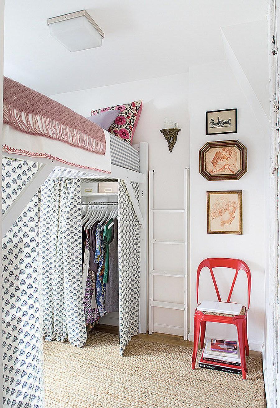 Кровать чердак с гардеробной