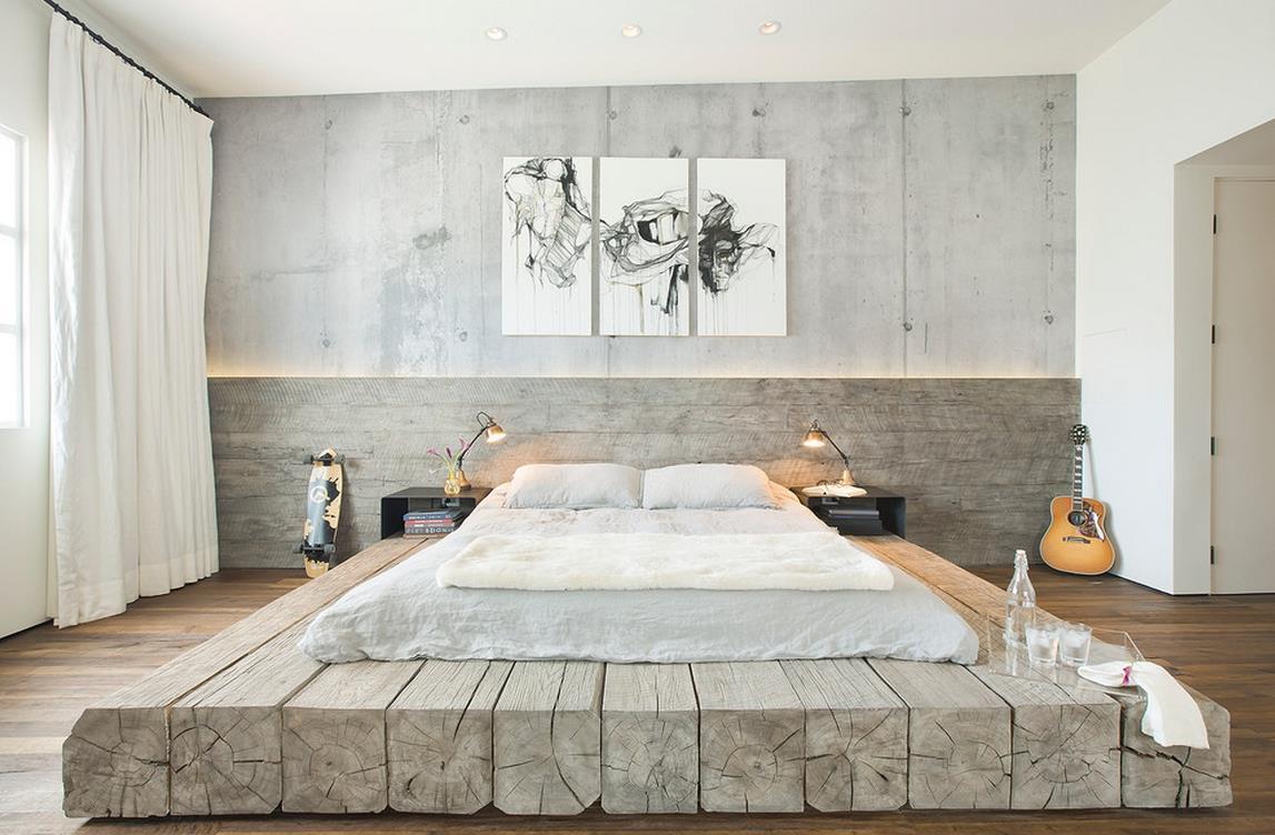 Кровать подиум из бревен