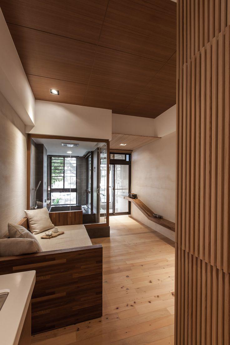 Японский интерьер с деревянной перегородкой