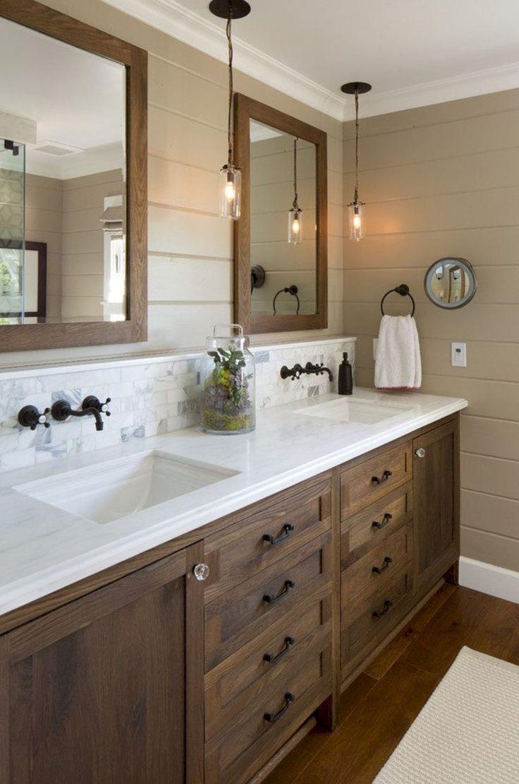 Ванная своими руками с деревянной мебелью