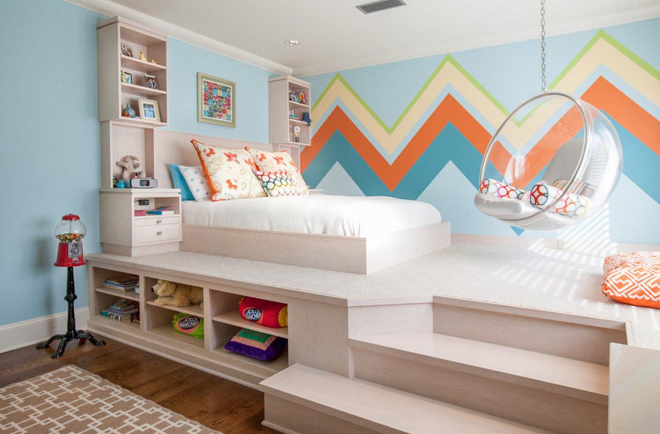Кровать подиум детская с нишей
