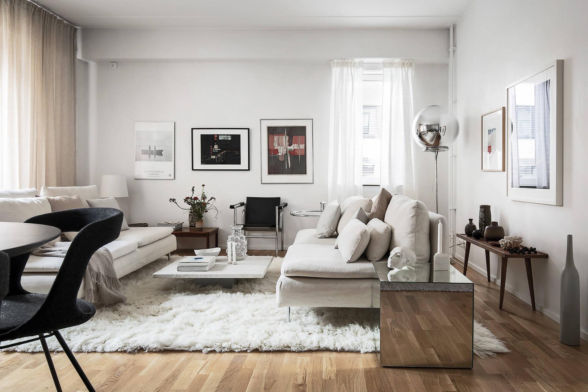 Белый интерьер в эклектичном стиле
