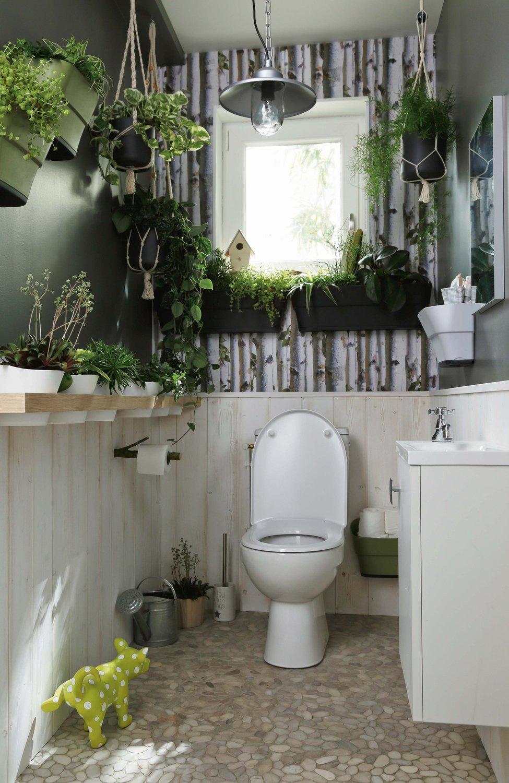 Обои в туалете в стиле эко