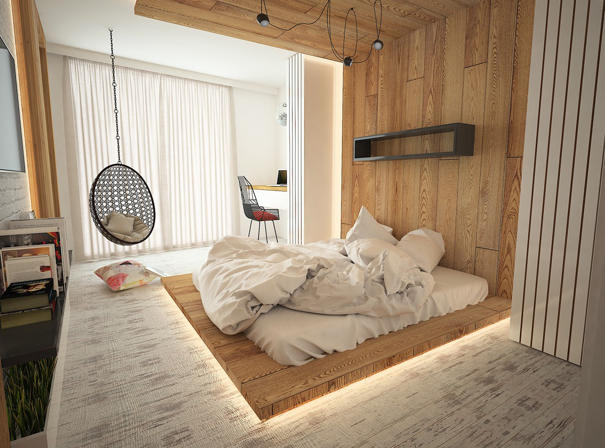 Кровать подиум в стиле эко