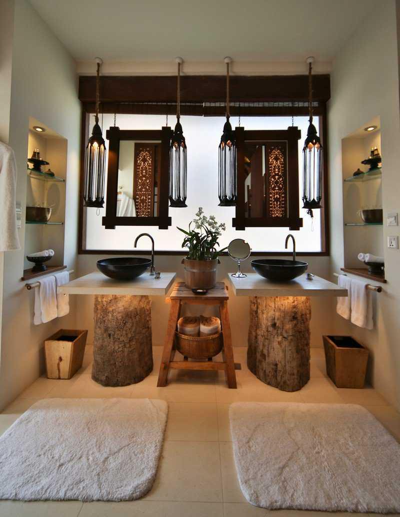 Большая ванная в стиле этно
