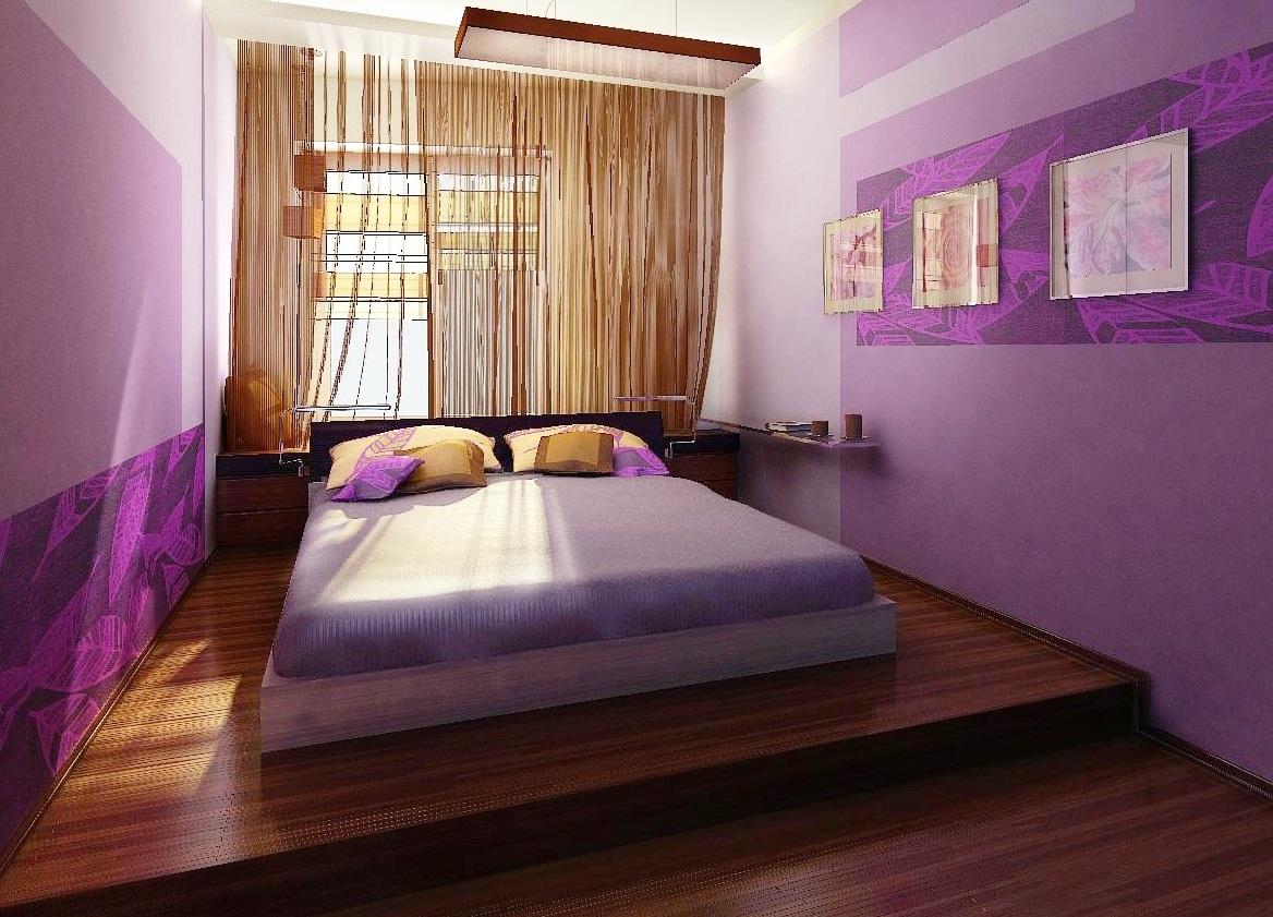 Кровать подиум фиолетовая