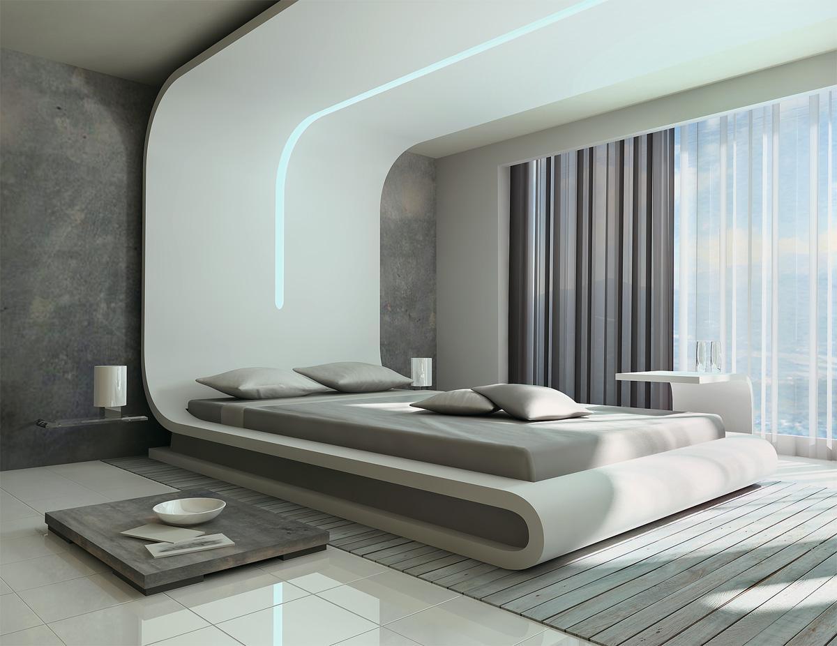 Кровать подиум в футуристичном стиле
