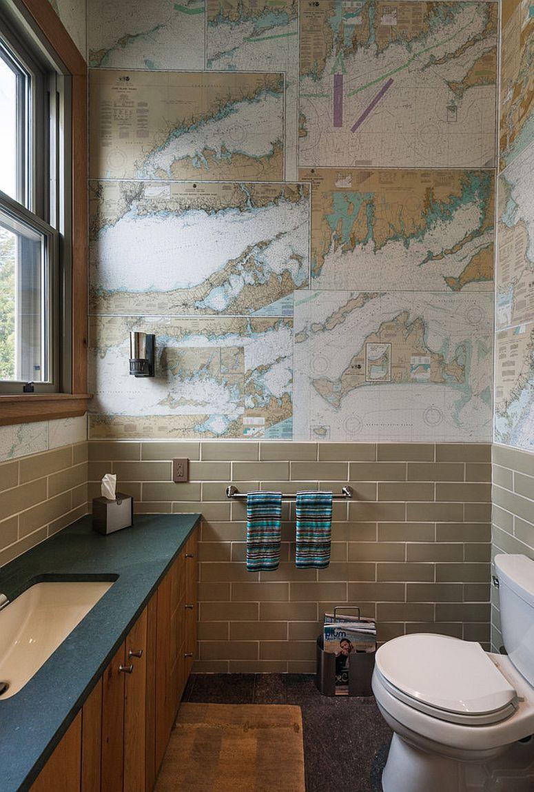 Обои в туалете географичные