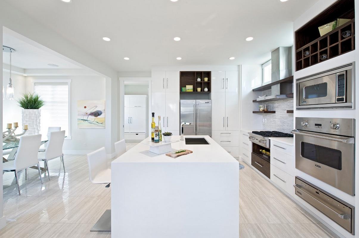 Белый интерьер с гипсокартонным потолком