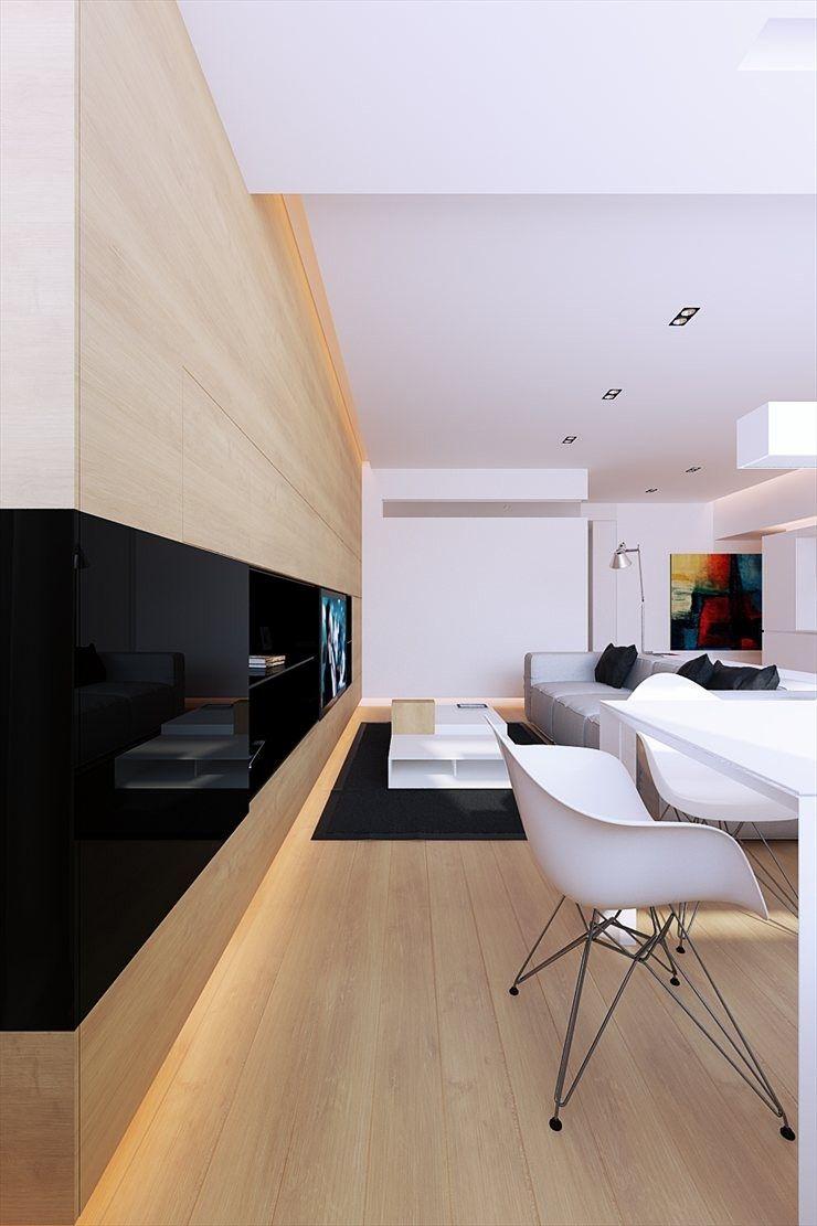 Японский интерьер с глянцевой мебелью