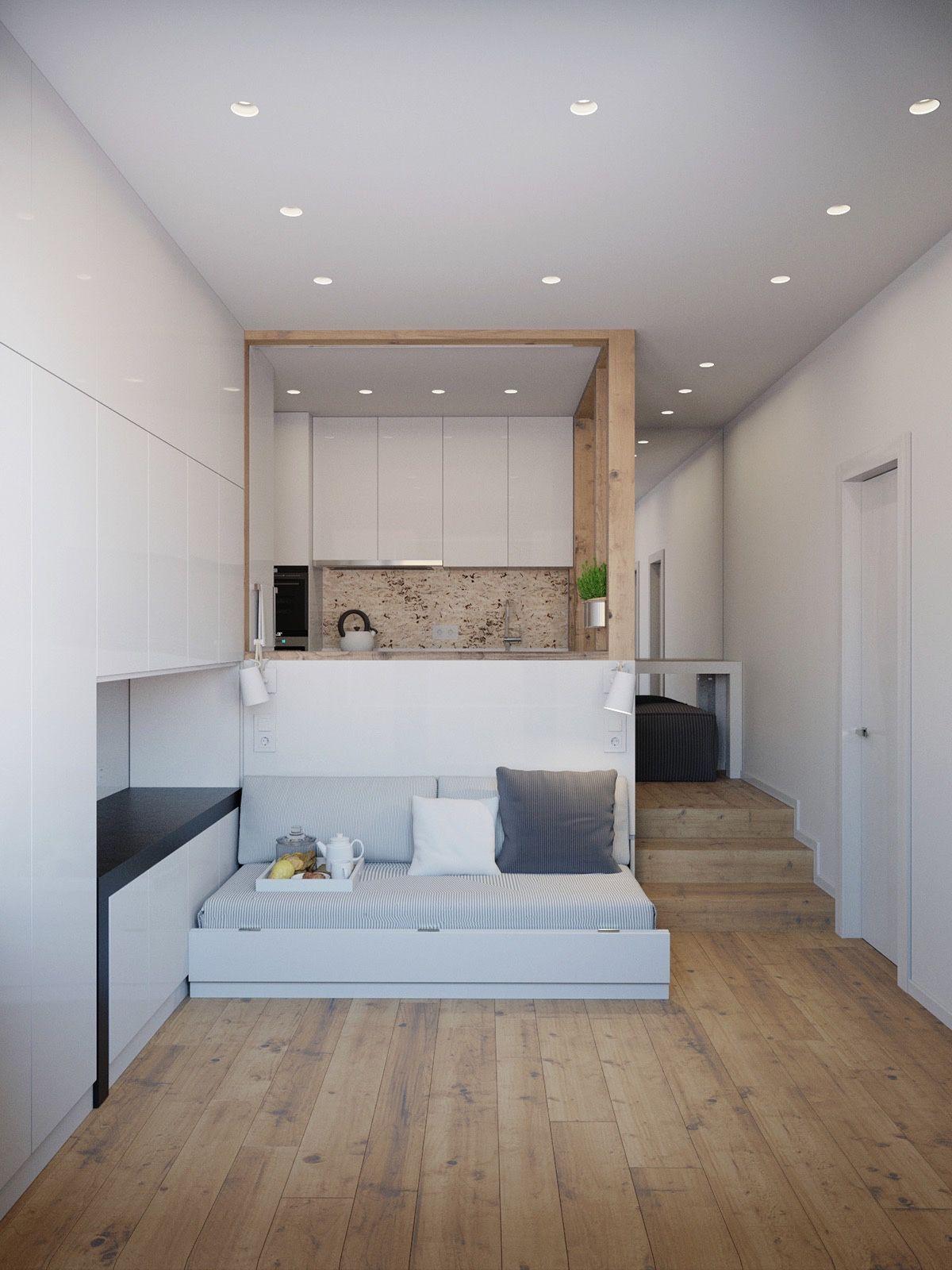 Кровать подиум в интерьере гостиной