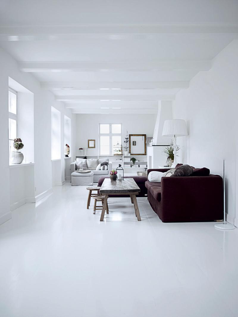 Белый интерьер с коричневым диваном