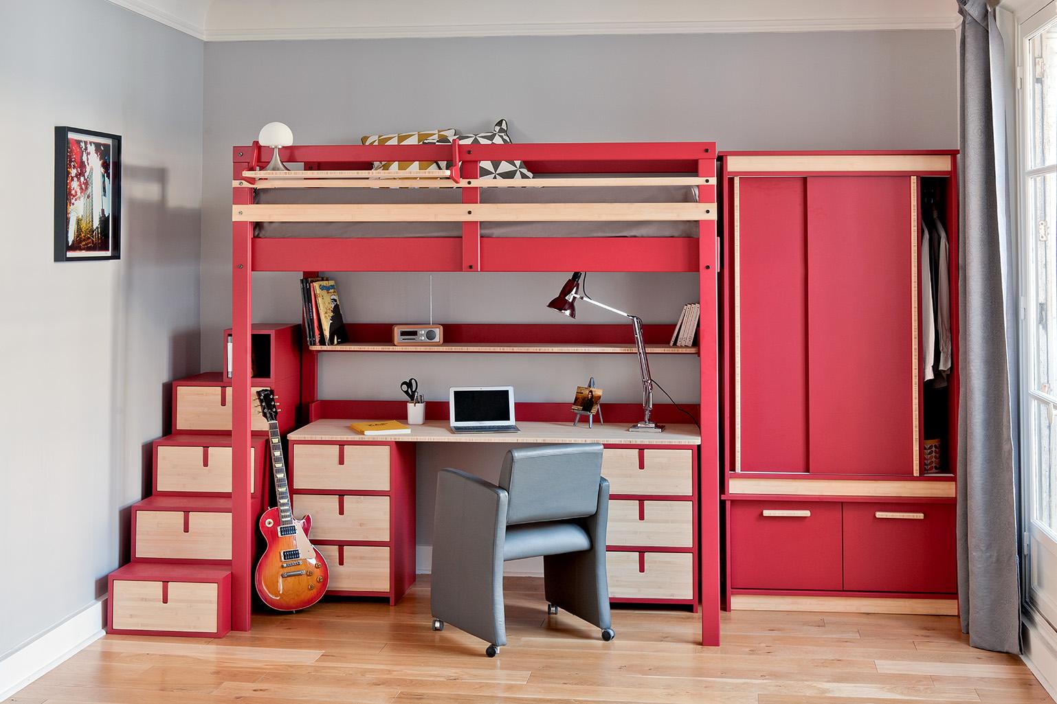 Кровать чердак красная