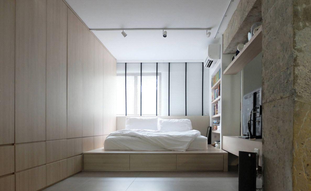 Кровать подиум в лаконичном дизайне