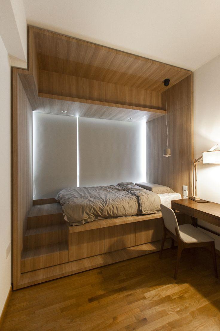 Кровать подиум с отделкой из ламината