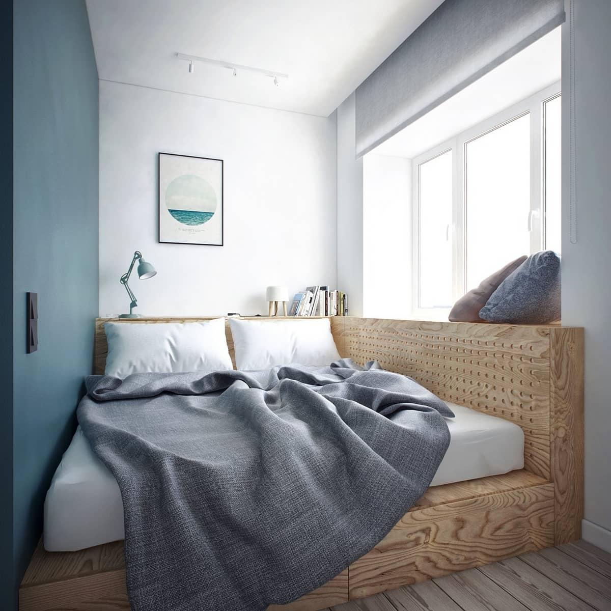 Кровать подиум в маленькой спальне