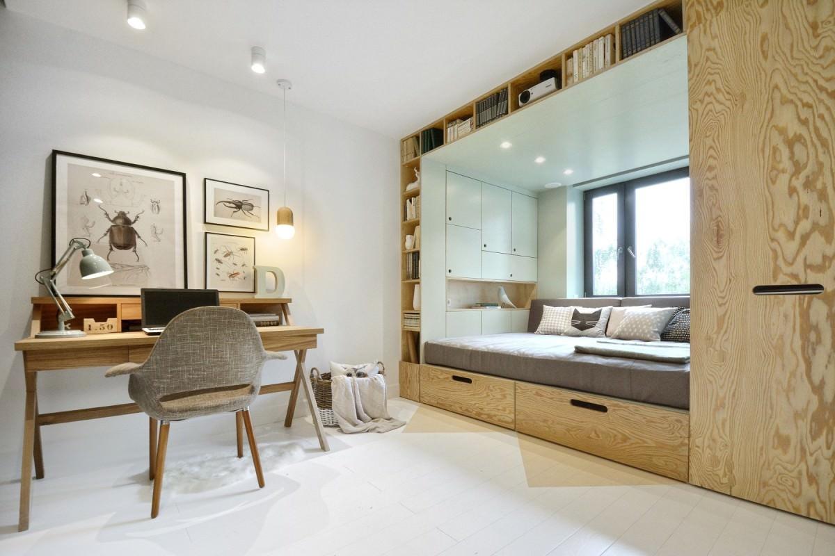 Мебель в спальне с подиумом