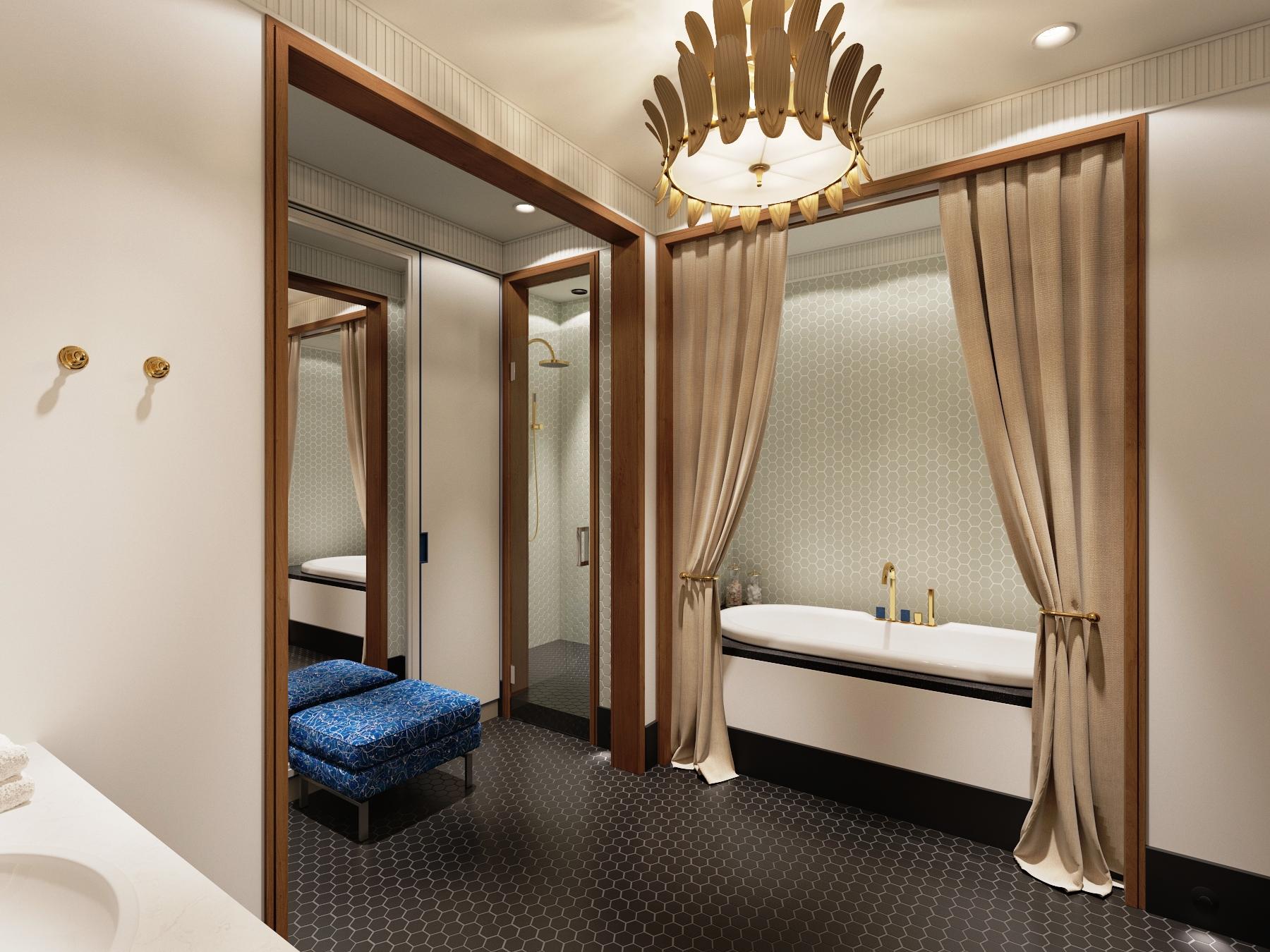 Зонирование шторами ниши в ванной
