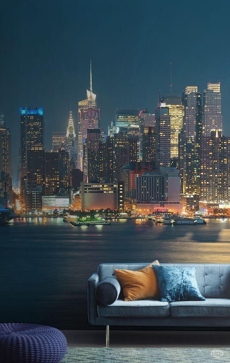 Фотообои ночной город в гостиной