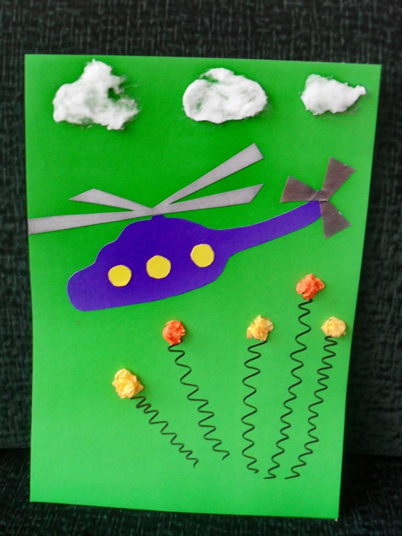 Поделки на 23 февраля открытка вертолет