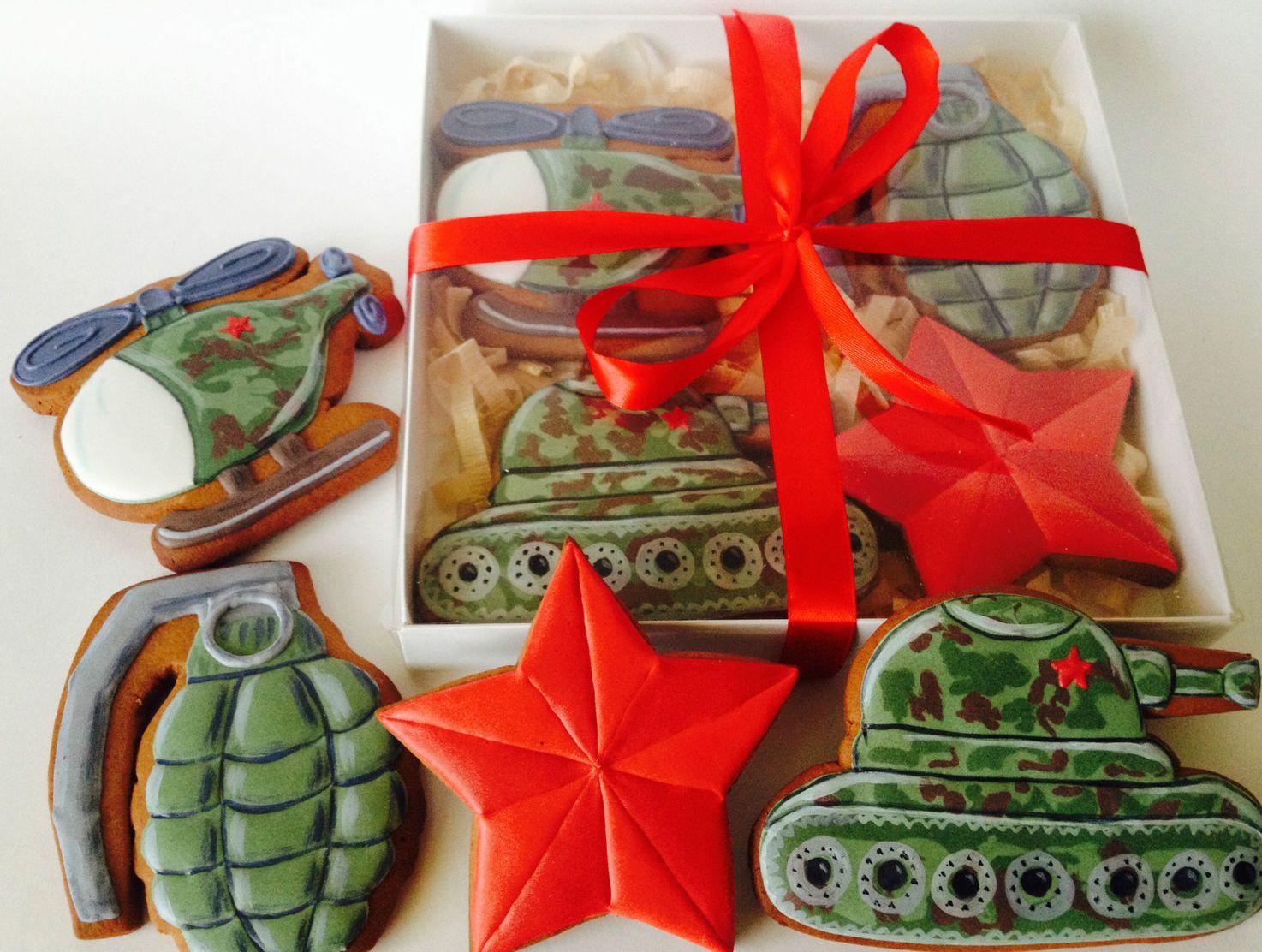 Подарки на 23 февраля своими руками печенье в виде военной техники